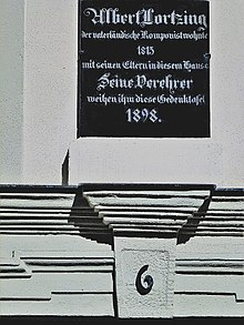 Memorial plate for Albert Lortzing - Coburg, at the house Gerbergasse 6 (Source: Wikimedia)