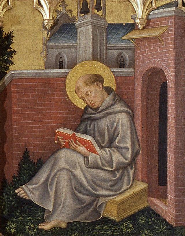 Thomas Aquinas, Detail from Valle Romita Polyptych, by Gentile da Fabriano (circa 1400) dans immagini sacre 640px-Gentile_da_Fabriano_052