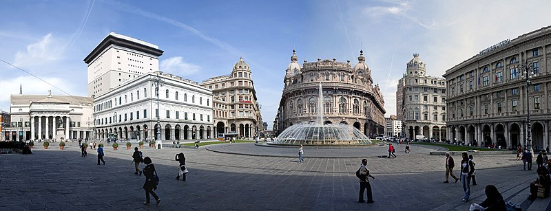Panorama of the Piazza De Ferrari, Genoa