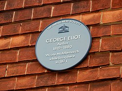 Photo of George Eliot blue plaque