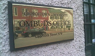 Ombudsman - Sign at Georgetown University Washington DC