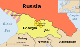 Map of the Caucasus indicating Georgia, Ossetia, Russia and Abkhazia