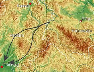 Fulda Gap - Theoretical attack-routes through the Fulda Gap; the southern one through Fulda, the northern one through Alsfeld. The Vogelsberg Mountains rise between the two routes.