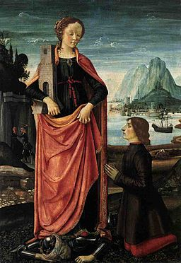 Ghirlandaio St Barbara Crushing her Infidel Father, with a Kneeling Donor