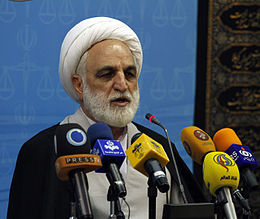 Gholam-Hossein Mohseni-Eje'i in a press conference (1).JPG