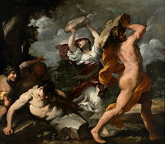 Museu Nacional de Belas Artes - Giovanni Maria Bottalla, Deucalion and Pyrrha (c. 1635). One of the paintings brought from Portugal by John VI.