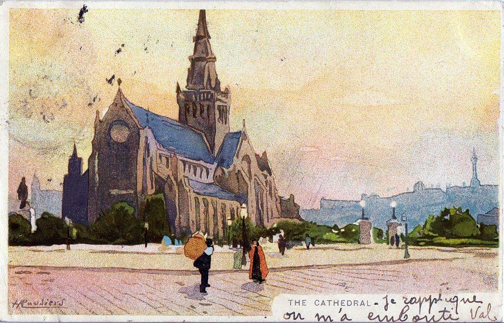 Carte postale de Henri Cassiers représentant la cathédrale Saint Mungo à Glasgow vers 1901.