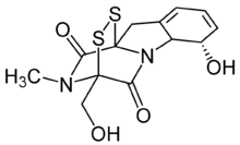 Skeletal formula of gliotoxin