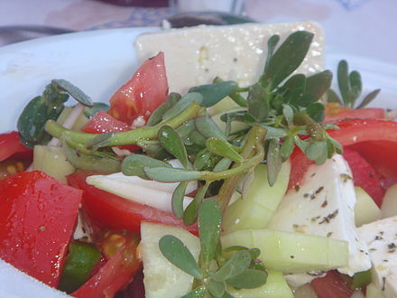 Greek salad with purslane Glistrida Greek salad.JPG