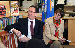 Governor Dannel Malloy and Congresswoman Rosa DeLauro listen as Agriculture Secretary Tom Vilsack outlines USDA efforts to raise a healthier generation of Americans and highlights efforts to improve school meals