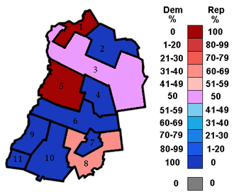Grafton County, New Hampshire - The 11 legislative districts of Grafton County, and the percentage of party representation in each