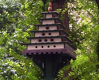 Nest box - Birdhouses in Gramercy Park, New York City, note the use of different diameter entrance holes