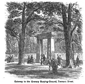 Granary Burying Ground - Entrance to the Granary Burying Ground as it appeared circa 1881 with the European Elms present