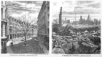 Great Boston fire of 1872 - Franklin St. before and after the Great Boston Fire of 1872