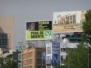 Capital punishment in Mexico - Image: Green ad for death penalty in Mexico