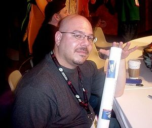 Greg Rucka - Rucka at a comic book convention during a meet-and-greet in 2004