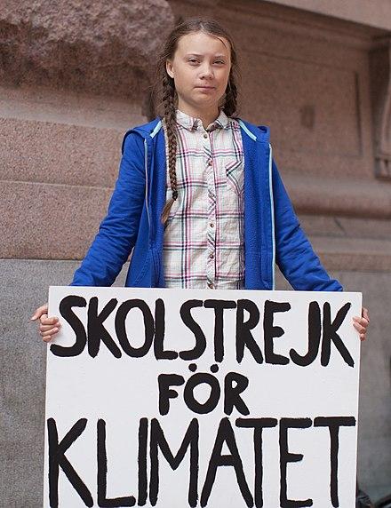 スウェーデン議会の前で、「Skolstrejk för klimatet」( 気候のための学校のストライキ )サイン、ストックホルム 、2018年8月