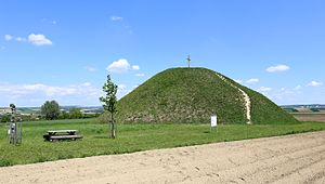 Großmugl - The Leeberg, Central Europe's largest hill grave, rises from the fields near Großmugl