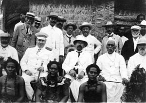 German Samoa - Group with Governor Wilhelm Solf (wearing peaked cap), New Zealand parliamentarian Charles H. Mills and paramount chief Mata'afa Iosefo during a visit by Mills to German Samoa, 1903