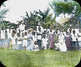 Christianity in the Democratic Republic of the Congo - Image: Group with John Mc Kittrick, Congo, ca. 1889 1891 (IMP CSCNWW33 OS12 25)