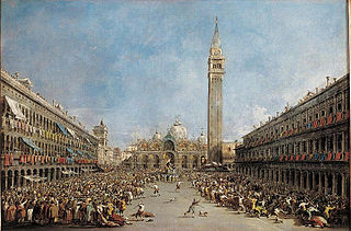 Le Doge de Venise porté par les gondoliers, après son élection sur la place Saint-Marc