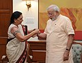 Gujarat CM Anandibhai Patel meets PM Modi.jpg