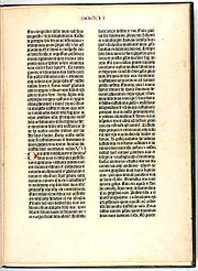 Page de la bible de Gutenberg, deux colonnes, 42 lignes.