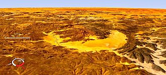 Gweni-Fada crater - Oblique Landsat image of Gweni-Fada crater draped over digital elevation model (x2 vertical exaggeration); screen capture from NASA World Wind