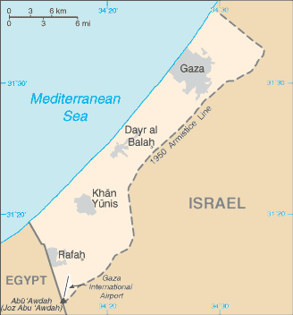 Location of the Gaza Strip