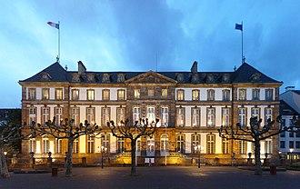 Hôtel de Hanau - Place Broglie facade of the Hôtel de Hanau at dusk