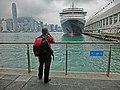 HK TST Ocean Terminal Piers Victoria Harbour parking Cunard Line Queen Victoria cameraman Mar-2013.JPG