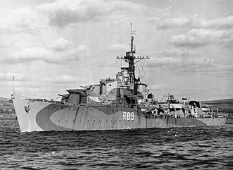 HMS Termagant (R89) - HMS Termagant at anchor, c1943 (IWM FL 9373)