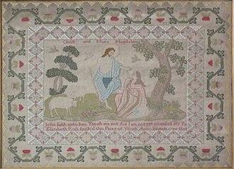 Sampler (needlework) - Image: H 1786 'biblical' sampler by Elizabeth Ross