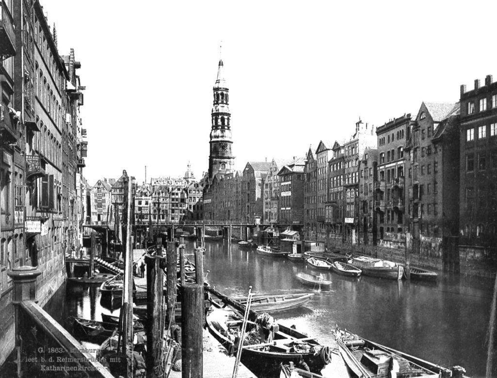 Hamburg Fleet mit Reimersbrücke und Katharinenkirche 1863