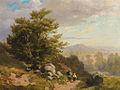 Hans Thoma - Voralpenlandschaft mit zwei Wanderern an einem sonnigen Sommertag.jpg