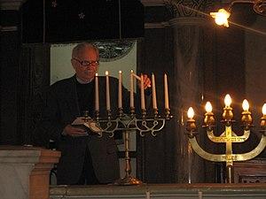 Hanukkah in the ortodox synagogue in Marosvásá...