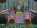 Hard Days Night Hotel, garden with deck chairs, Liverpool 2009.jpg