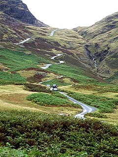 Hardknott Pass Hill pass in the Lake District, Cumbria, England