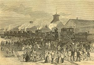 Great Railroad Strike of 1877 - Image: Harpers 8 11 1877 Blockade of Engines at Martinsburg W VA