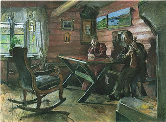 Hulda Garborg - Hulda and Arne Garborg in their cabin at Kolbotn. Painting by Harriet Backer from 1896. The paintings on the wall are made by  Kitty Kielland