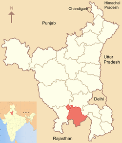 Location of Rewari district in Haryana