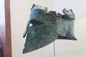 "Miltiades - ""Helmet of Miltiades"". The helmet was given as an offering to the temple of Zeus at Olympia by Miltiades. Inscription on the helmet: ΜΙLTIAΔES. Archaeological Museum of Olympia. His helmet read Miltiades dedicates this helmet to Zeus."