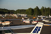 Malmi airport, one of the oldest in the world and Finland's main small aviation airport.