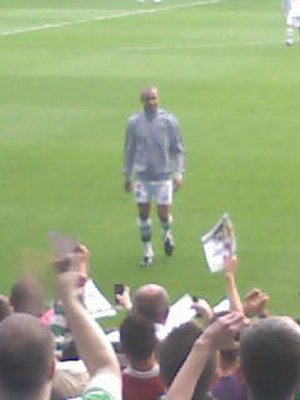 Henrik Larsson - Henrik Larsson before kick-off at the John Kennedy testimonial match