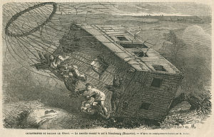 "Nadar (photographer) - 1863: Disaster with ""Le Géant"" at Neustadt am Rübenberge at Hanover. Illustration in a newspaper"