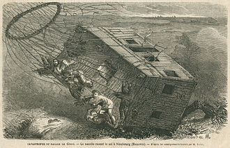 "Nadar - 1863: Disaster with ""Le Géant"" at Neustadt am Rübenberge at Hanover. Illustration in a newspaper"