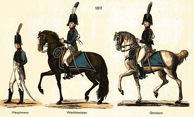 File:Herzoglich Gothaische Gendarmerie 1811 Uniform nach Vorbild der Gendarmerie impériale blauer Rock gelblederne Hosen schwarzer Zweispitz.jpg