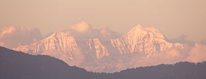 Kalpeshwar - An evening view of snow peaks seen in Garhwal Himalayas