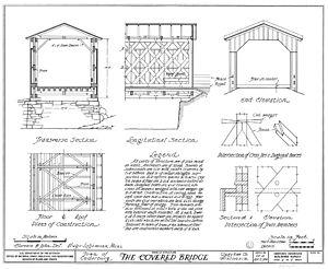 Covered Bridge (Cedarburg, Wisconsin) - 1937 Historic American Buildings Survey sketch