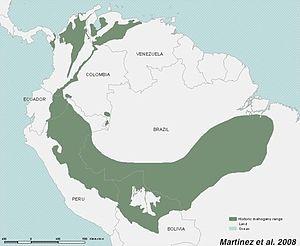 Swietenia macrophylla - Image: Historic distribution big leaf mahogany
